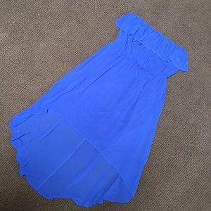 Cobalt Blue Hi-Lo Strapless Dress
